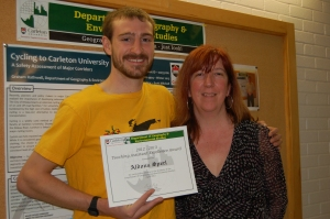 Aldous Sperl with grad program administrator Natalie Pressburger