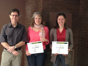 DGES TA Excellence Award Winners Mary Trudeau (middle) and Anna Crawford (right) with DGES Chair Doug King.
