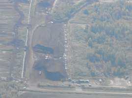 An aerial view of the edge of Alfred Bog, showing some of the landscape changes introduced by the peat-mining industry there